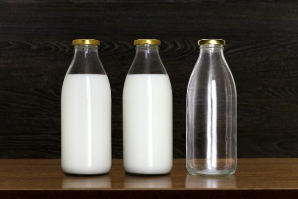 Milk bottles on a surface