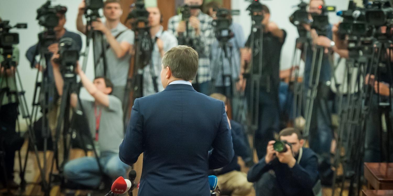 Speaker at press conference
