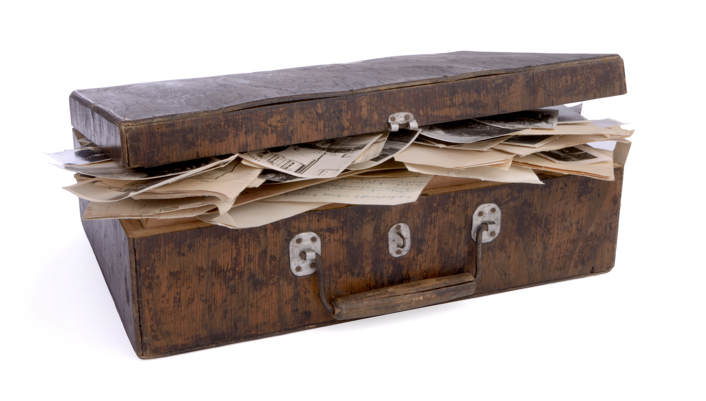 Suitcase filled with old letters